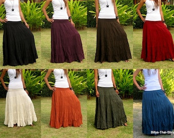 Cotton Maxi Skirt * Elastic Smocked Waist * Boho Skirt * Long Skirts for Women * Long Hippie Skirt * Bohemian Skirt * Free Shipping * SL