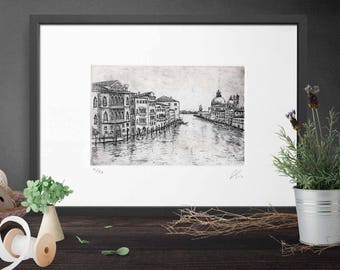 Etching - Grand Canal in Venice