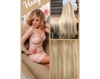 HALO hair extensions, flip in hair extensions 100g dark/light blonde mix #18/613 human secret wire HEXY hair extensions crown