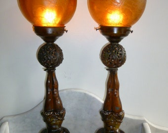 Rare pair of French Art Deco spelter figural lamp with original amber shades – c 1930