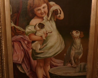 Antique large Victorian English painting oil on canvas of girl with dogs J.S. DYSON circa 1894