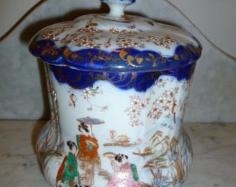 Antique Victorian polychrome bone china porcelain cookie jar Japanese scenes circa 1880