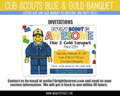 "Cub Scouts Blue and Gold Banquet CUSTOM Invitation Lego Party Theme ""Every Scout is Awesome"""