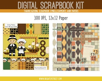 Thanksgiving Digital Scrapbook Kit - 20 12x12 Pages, 18 Embellishments