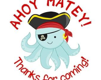Octopus Pirate Stickers - Kids Pirate Birthday Sticker - Octopus Pirate Birthday Label and Party Favor
