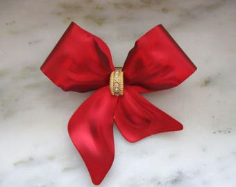 Vintage Big Red Bow with Rhinestones Pin or Brooch