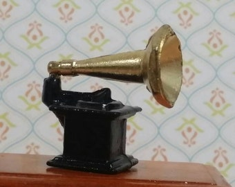 Vintage Miniature Dollhouse Gramophone
