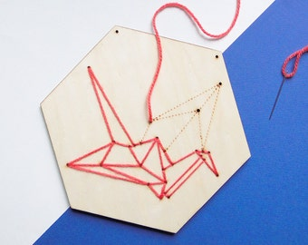 Embroidery wood tile Crane ~ DIY ~ Embroidery kit ~ Present/gift