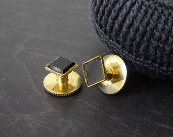 Vintage Black Enamel and Gold Fill Cuff Links
