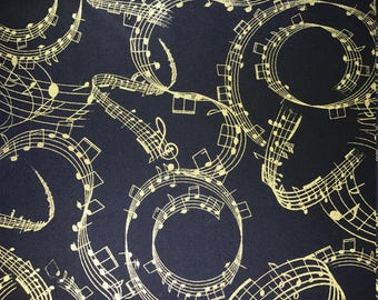 Music on black with gold accents