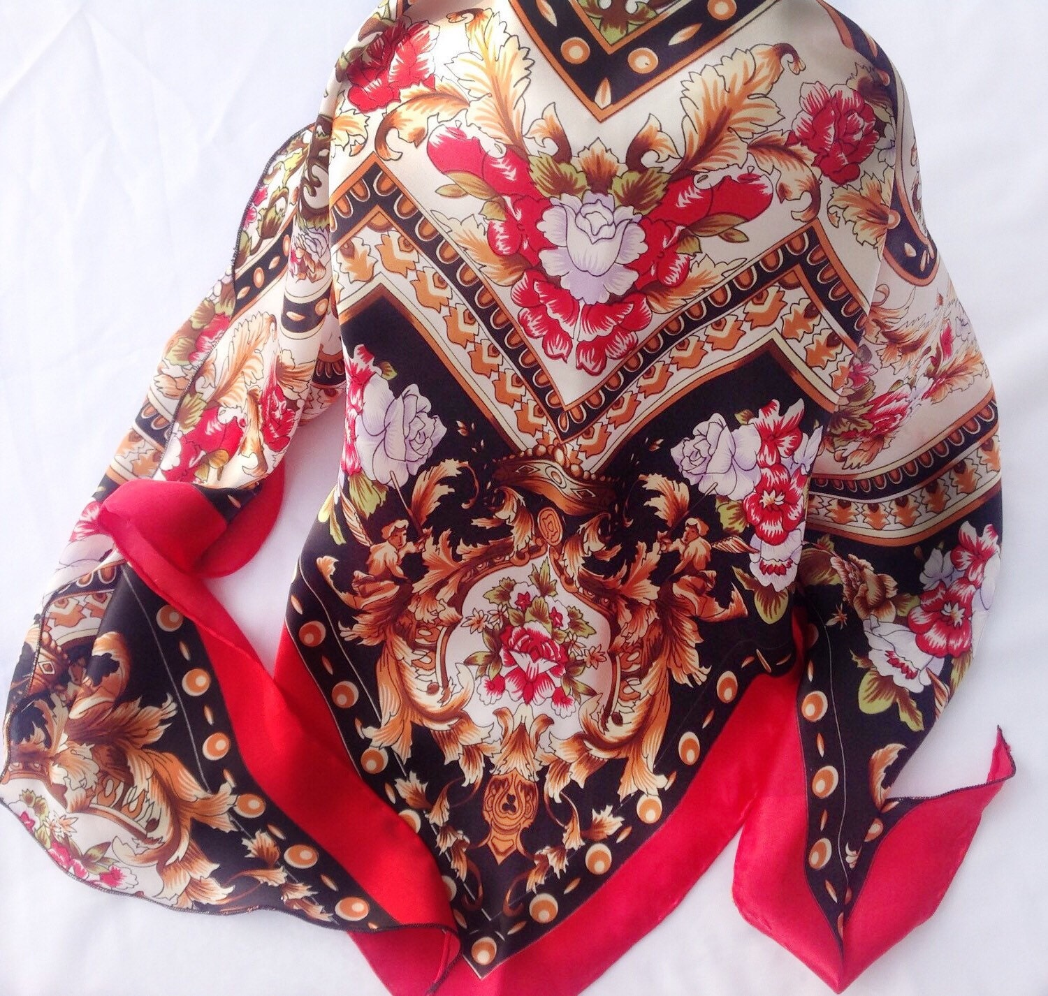 Red Paisley Scarf Holiday Gift For Her Coworker Birthday Present Aunt