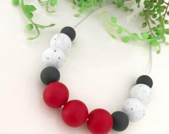 Handmade beaded silicone necklace - nursing beads - breast feeding - sensory.