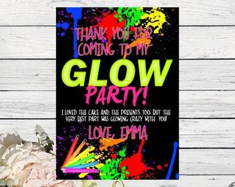 Glow Party Thank You Card Personalized  ***Digital File*** (Glow-Grl Thx)