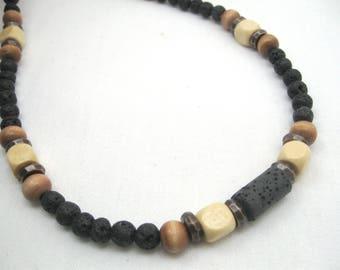 mens diffuser necklace, mens lava necklace, mens necklace black stone, mens beaded necklace, essential oils necklace, lava diffuser boys