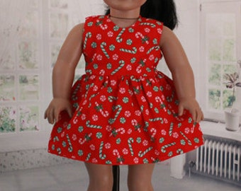 American Girl Doll, Candy Cane Christmas Dress, Vintage Fabric