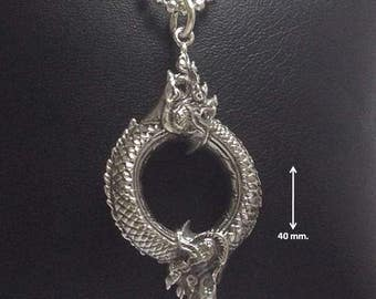 """925 Sterling Silver Pendant """"Naga"""" Rich and Luck Good Business.(No.37)"""