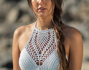 New Spring 2017 Ahui Hand-Crochet Halter Top - Skirt Sold Separately - Beach Bikini Swimwear Cover Up - More Colors