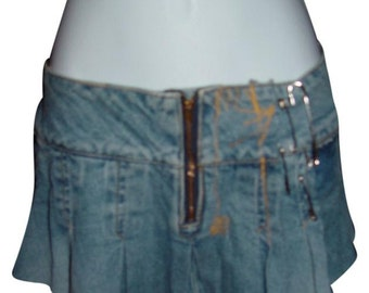 Resurrected VTG Pleated jean Mini Skirt, Womens small -med adjustable
