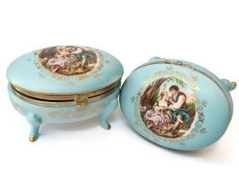Vintage Dresser Trinket Boxes '60s  Blue Bisque Porcelain French Provencial Hinged Footed Set of 2 Pastoral Scene Gold Gilt