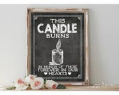 Instant 'This Candle burns in honor of' Printable Wedding Loved Ones Lost Sign Printable Chalkboard Size Options Wedding Memorial
