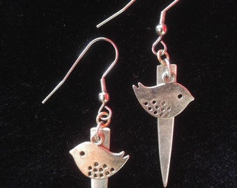 Handmade chickadee fork tine earrings made from up-cycled vintage silver plate silverware. Free shipping within Canada.