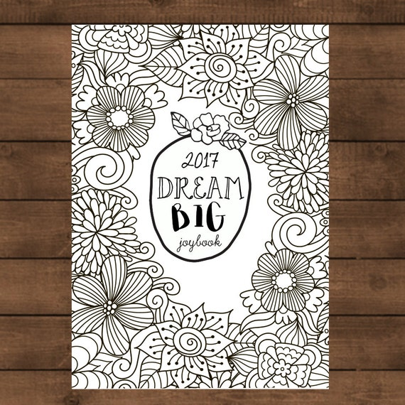 2017 Goal Setting Joybook, Coloring Book, A4, Planner, Calendar, Instant Download, Checklists, Printable, Prinable Planner, Black and White