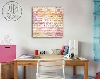 stay wild, bohemian art print on canvas, aztec pattern print, for her, college dorm art for girls, dorm room decor, quote on canavs