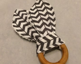 Eco friendly wood teething ring with grey broken chevron print fabric