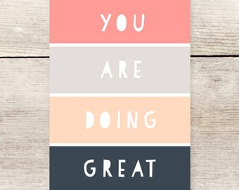 You Are Doing Great color block note card, Encouragement flat note card