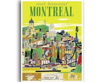 Travel Poster Montreal Canada Art Print Home Decor (XR1201)