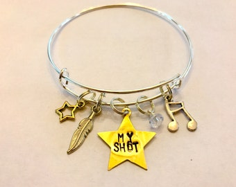 "Hamilton Inspired Hand-Stamped Star Bangle Bracelet - ""My Shot"""