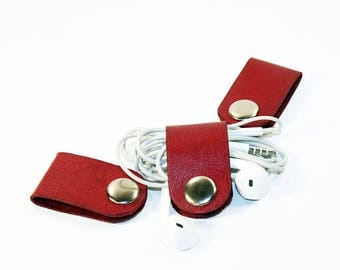 Set of 3 cable organiser. Red cable organizer. USB cable holder. Earphone holder. Cable Winder. Headphone holder .FREE SHIPPING!