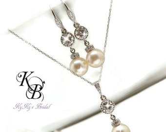 Bridal Jewelry SET Classic Jewelry Elegant Jewelry Wedding Jewelry Pearl Jewelry Set Wedding Jewelry Set Sterling Silver FREE Gift Box