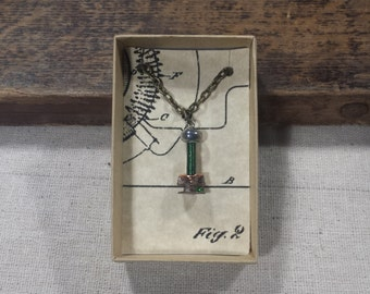 Tiny High Voltage Tesla Coil Necklace (Green Secondary Coil)