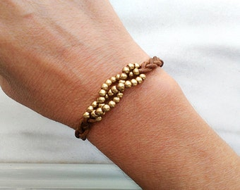 Woven leather bracelet for women, beaded leather brown wrap bracelet, womens braided bead cuff , leather jewelry, gifts for her under 25