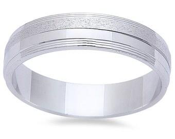 5mm Sterling Silver Wedding Ring,  Personalized Custom Engraved Wedding Ring, Groom Wedding Band, FREE ENGRAVING