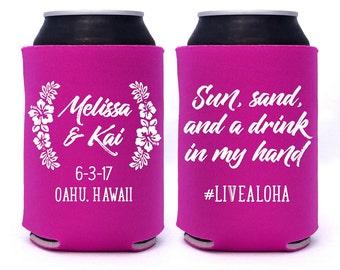 Hibiscus Laurels Hawaiian Wedding Favors // Sun, Sand, Drink in My Hand // Custom Wedding Can Coolers Party Favors Hashtag