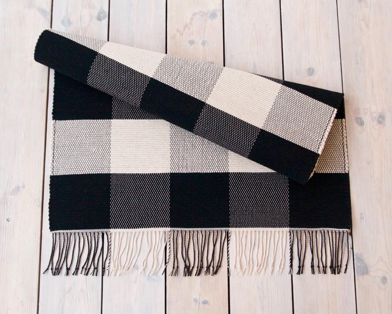 Handwoven wool rug black white wool rug monochrome wool for Black and white wool rug