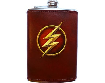 The Flash Hand Painted 8 oz Leather Flask