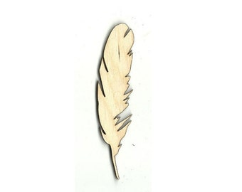 Feather - Laser Cut Out Unfinished Wood Shape Craft Supply XTR30
