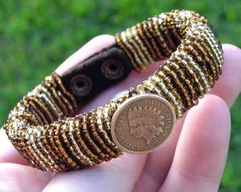 Vintage Indian Head penny coins cuff Bracelet Unique Designer  Bison leather  Native Indian Navajo style