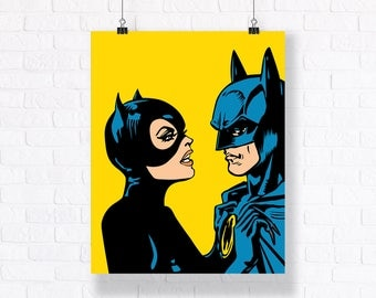 Batman and Catwoman - Customizable Comic Book Illustration, High Quality Poster and Wall Art