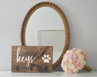 Keys Single Paw Key Holder and Dog Leash Holder, Entryway Organizer, Key Organizer, Wedding Gift, Housewarming Gift, Key Hooks, Leash Holder