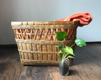 Large Bamboo Wicker Basket Vintage Basket Laundry Basket