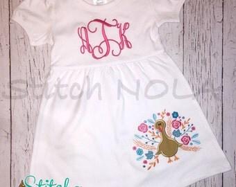 Floral Turkey Applique Shirt, Dress, Bodysuit, Romper
