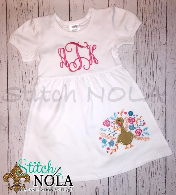 Floral Turkey Applique Shirt, Dress, Bodysuit, Romper