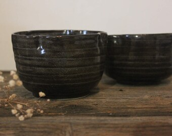 Handmade Set of 2 Nesting Ceramic Stackable Bowls