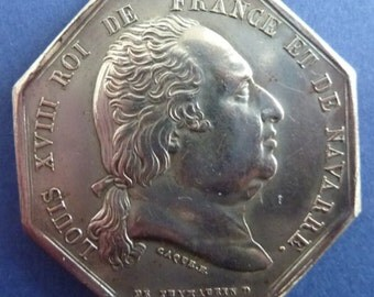 French Histrical 8 Sided Medal Of King Louis XVIII Dated 1822.
