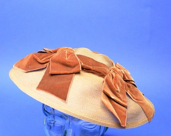 Vintage Estate Hutzlers Baltimore Brown Cartwheel Saucer Coolie Hat