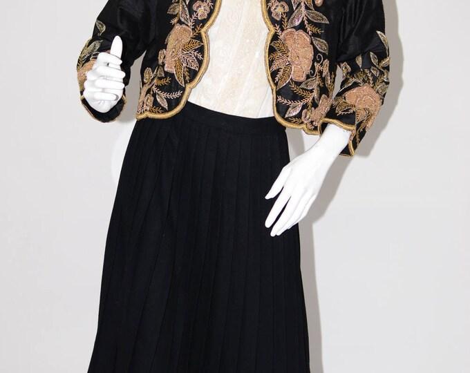 Raj International Vintage Estate Silk Black Gold Black Cropped Blazer Bolero